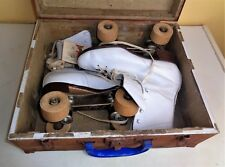 Vintage Women Lady Official Roller Derby Skate Wood Wooden Wheels Box Case 7 1/2