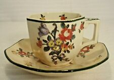 Antique Royal Doulton English Cup and Saucer Old Leeds Spray Pattern England