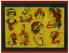 pro print 1920s antique percy waters tattoo flash gypsy flag girl pinup 11x14