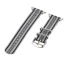Grey/Black/White - 2 Piece Classic SS Nylon Watch Band for 42mm Apple Watch