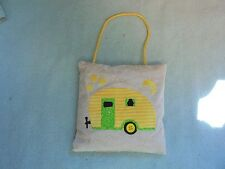 Handcrafted Balsam Pillow/Ornament Camping Glamping Camper Trailer Yellow/Green