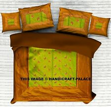 INDIAN BOHEMIAN BROCADE SILK BED COVER FOR DOUBLE BED COVER 5 PCS SET BEDDING
