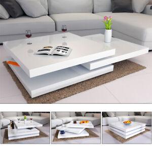 High Gloss Coffee Table Living Room Modern Furniture Rotating Layers Lounge MDF