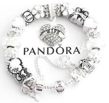 "Authentic Pandora Bracelet Silver ""LOVE STORY"" Wife White European Charms NIB"