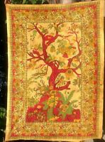 Tree of life Cotton Wall hanging Batik Throw Bedspread Tapestry Yellow India