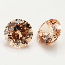 100pcs 0.8~20mm Round Champagne 5A loose cz stone cubic zirconia gemstone