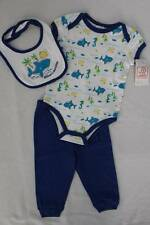 NEW Baby Boys 3p Outfit 3 - 6 Mo Bodysuit Pants Bib Set Blue Whale Mom Big Eater
