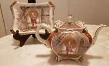 Antique Victorian Burleigh Ware Chinoiserie Scene  Teapot & Matching Tray RARE