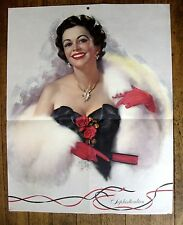 1950s Large Zoe Mozert Pin Up Girl Picture Sophisticated Brunette in White Fur