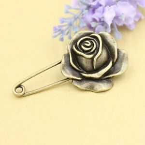 Rose Pin / Men's Antique Gold Rose Safety Pin Brooch Wedding Lapel Boutonniere