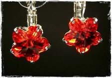Neu OHRHÄNGER Blüte SWAROVSKI STEINE light siam/rot BLUME Blüten OHRRINGE Blumen