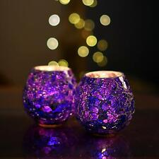 Mosaic Moroccan Blue Glass Crackle Tealight Candle Holder (Set of 2) #SJ242