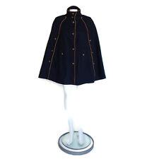 Topshop Navy Blue Wool Millitary Button  Blend Cloak Coat Size 6