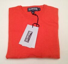New Authentic Vilebrequin Round / Crew Neck Cashmere Sweater Orange Men Size L