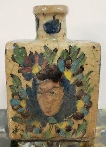 Late 19th Century Persian Iznik Pottery Portrait/Floral Motifs Bottle Flask