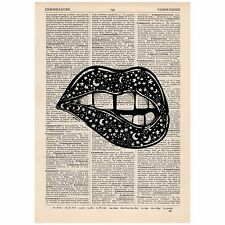 Surreal Celestial Lip Bite Dictionary Print OOAK, Mystic, Art, Unique, Gift,