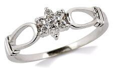 Women's Flower Diamond Band in 14k Solid White Gold Ring