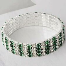 Silver Filled 4 Row Cubic Zirconia Crystal Stretch Chain Tennis Wrist Bracelet
