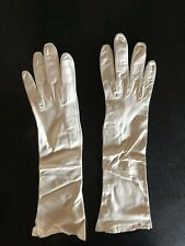 "VINTAGE WHITE REAL FRENCH KID LEATHER GLOVES LONG 16"" OPERA / EVENING GLOVES"