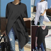 Women Loose Short Sleeve Blouse Ladies Solid Casual Tops Side Slit Shirt Tee New
