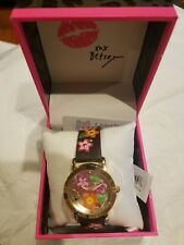Betsey Johnson 3-d Flower Child Burgundy Watch NWT $85 in BOX