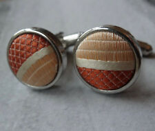 vintage 80s style salmon pink stripe silver tone mens cufflinks -R254