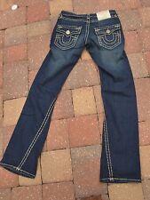 "AUTH""TRUE RELIGION""Blue Denim Joel Row Seat Low Rise Flare Jeans size 27W/33L"
