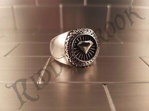 Lucky Diamond Stainless Steel Biker ring poker punk goth wedding casino