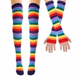 1 Pair Colorful Rainbow stockings Striped High Thigh Knee Socks Arm Warmer Glove