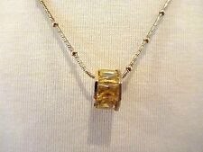 Necklace Yellow Cubic Zirconia CZ Round Pendant Gold 925 Sterling Silver 20""