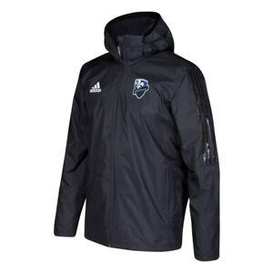 Minnesota United FC MLS Adidas Men's Team Black ClimaStorm Full Zip Coach Jacket