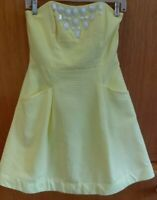 LILLY PULITZER Pale Yellow Strapless Blossom Dress - Size 4