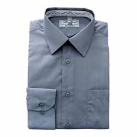 Boltini Italy Men's Collection Long Sleeve Dress Shirts Convertible Cuffs Grey