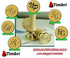 Timbro Sigillo per ceralacca doppia iniziale sposi 25 mm.