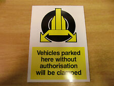 WHEEL CLAMPING warning sign - 275mm x 200mm