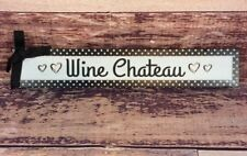 "Wine Chateau Wood Hanging Plaque Sign 12"" x 2"" x 3/4"" Black White Polka Dot"