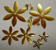 Flower Brads Metal Embellishments - Contempo Gold