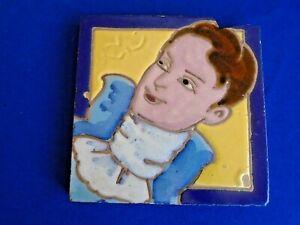 Vtg Tile Man Ascot Lace Tie as-is Smiling Face Blue Casanova Don Juan Gentleman
