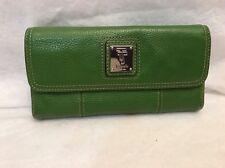 Tignanello Green Pebbled Leather Clutch Organizer Wallet