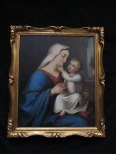 Magnifique portrait de vierge à l'enfant  du XIX e siècle