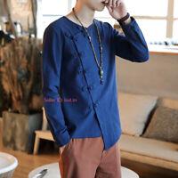 Mens Traditional Tang Suit Shirt Martial Art Tai Chi Long Sleeves T-shirt Tops