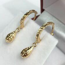18k Solid Yellow Gold Cute Tear Drop Hoop Earrings, Diamond Cut 1.20 Grams