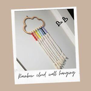MDF Rainbow Cloud, colourful, wall decor, wall hanging, ribbon, macrame,
