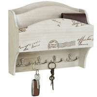 MyGift 2-Pocket Vintage White Wall-Mounted Mail Sorter & Key Hooks