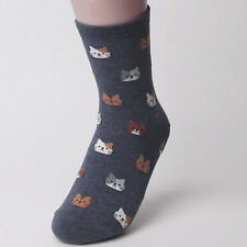 Fashion Women 5 Colors 1 Pair Lovely Animal Cat Pattern Soft Socks Xmas Gift Purple