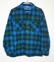 VTG 60s..PENDLETON..WOOL..BOARD..SHIRT..LOOP COLLAR..FLAP POCKET..PLAID..MEN L
