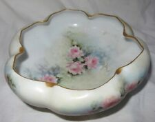 Early 1900s Q & E. G. Royal Austria Hand Painted 4 Footed Tulip Bowl 2.5""