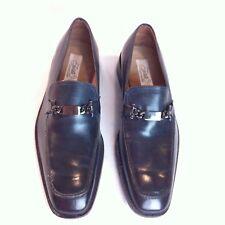 $690 FRATELLI ROSSETTI Brera Loafer Mock Toe Marine Blue Leather Sz 10M