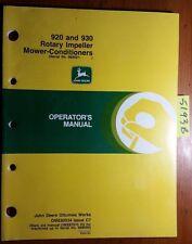 John Deere 920 930 Rotary Impeller Mower-Conditioner S/N 989001- Operator Manual