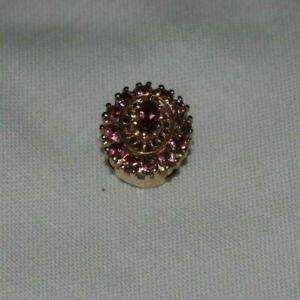 Vintage 14k Yellow Gold KLJCI Klein Pink Tourmaline Slide Bracelet Charm 3.8 g